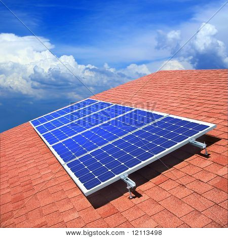 Solar panels on the roof of private home