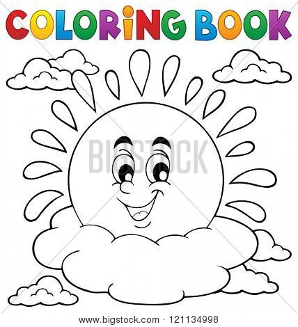 Coloring book cheerful sun theme 1 - eps10 vector illustration.