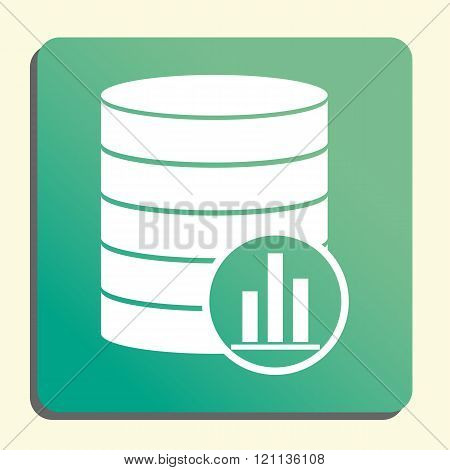 Database-stats Icon, On Button Style Green Background, Yellow Light, Shadow