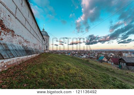Pereslavl-Zalessky, Russia - November 03, 2015: Goritsky Monastery of Dormition, it was based in the first half of the XIV century at Ivan Kalita. Wall overlooking the town.