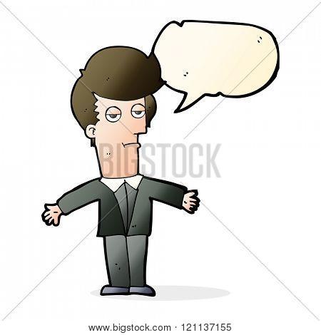 cartoon bored man with speech bubble