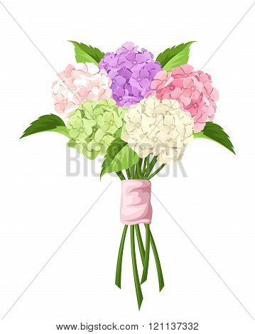 Bouquet of pink, purple, green and white hydrangea flowers. Vector illustration.