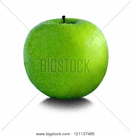 Green apple on a white background closeup