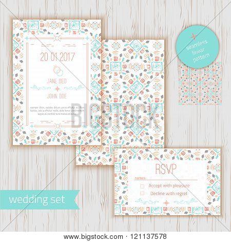 Stylish geometric save the date or wedding invitation card wirh RSVP. Vector geometric romantic card template. Perfect for wedding invitations, wedding cards, baby shower