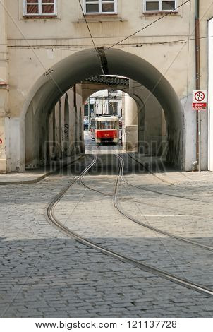 Prague, Czech Republic - April 28, 2010: Tram Tunnel In Mala Strana District (lesser Town Of Prague)