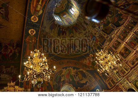 Christian Church Dome Interior With Lightnings