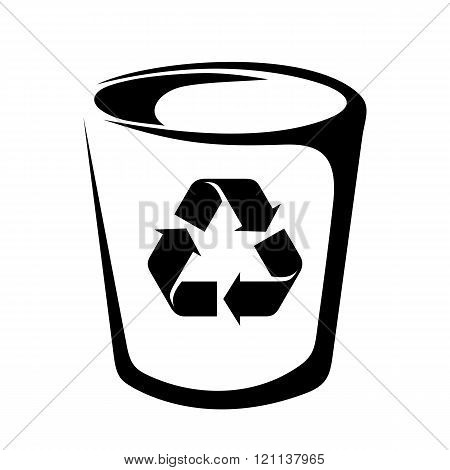 Trash can. Vector black silhouette.