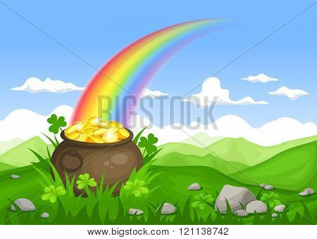 St. Patrick's day Irish landscape with pot of gold and rainbow. Vector eps-10.