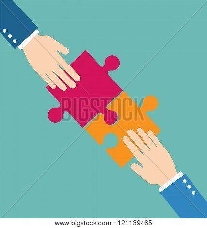 Teamwork Concept, Businessman Put Pieces Of Puzzle Together