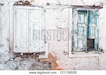 Two old wooden shutters
