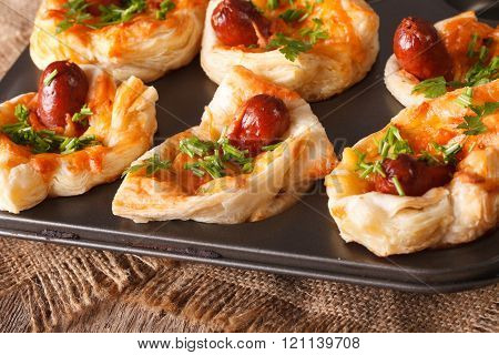Muffins With Sausage, Cheese Close Up In Baking Dish. Horizontal