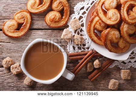 Coffee And Cookies Palmiers Close-up On The Table. Horizontal Top View