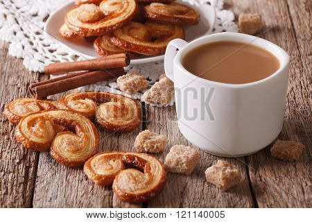 Coffee With Milk And Cookies Palmiers Close-up. Horizontal