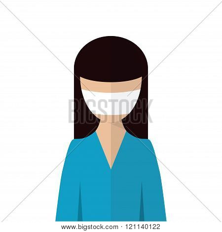 The image of a woman with medical mask on her face. Personal protective equipment.