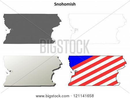 Snohomish County, Washington outline map set