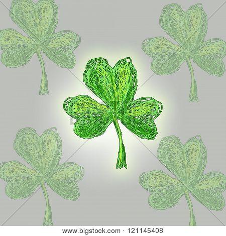 Leaf of clover hand drawn stil. St.Patrick 's Day