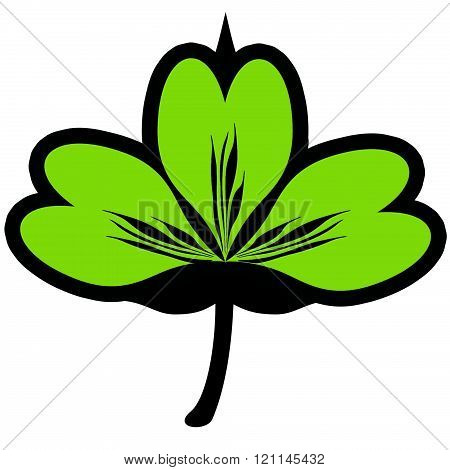 three leaf clover flat icon. sign