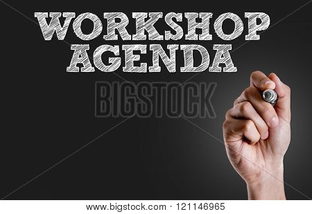 Hand writing the text: Workshop Agenda