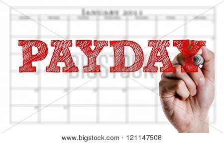 Hand writing the text: Payday