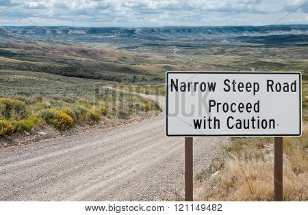Narrow Steep Road Warning Sign