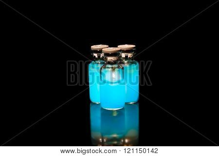 Vials With Cyan Medicine