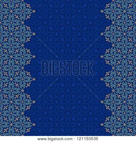 Vector islam pattern border. Seamless arabic ornament. Vintage oriental border design in Victorian style. Ornamental islam pattern lace luxury background. Ornate floral decor wallpaper texture