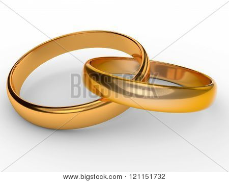 Two connected gold wedding rings over white