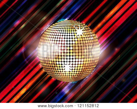 Disco Ball On Abstract Striped Background