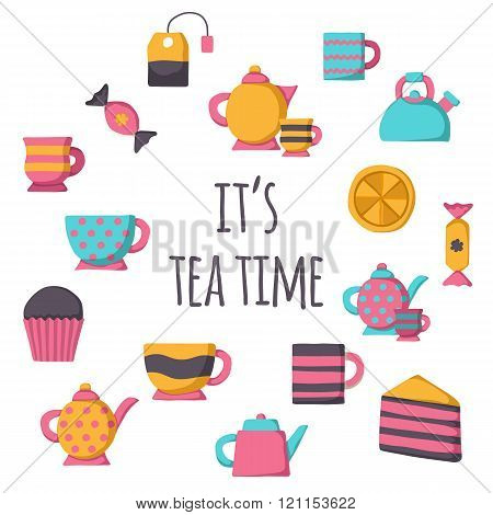 Set of cute teatime cartoon objects for your design