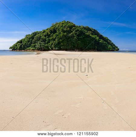 Tropical forest at the end of paradise sand beach