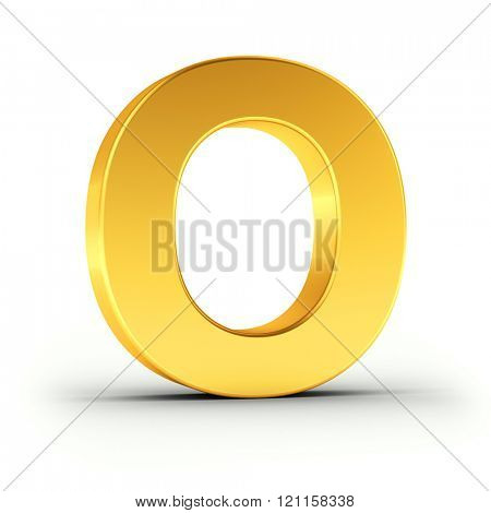 The Letter O as a polished golden object over white background with clipping path for quick and accurate isolation.