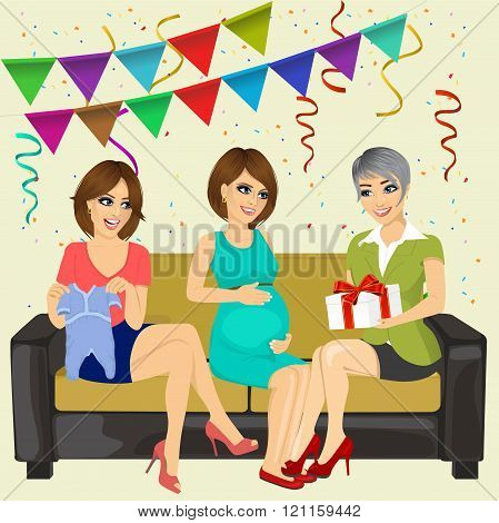 three attractive women on a baby shower party