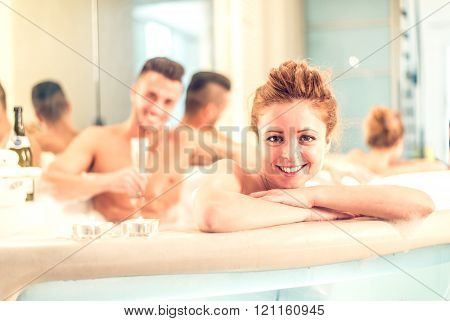 Couple In Jacuzzi Pool