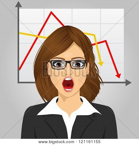 emotional crying businesswoman in economic crisis with line graph showing negative trend