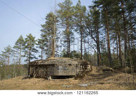 View of the long-term fiery point Lembolovsky the defensive line. Leningrad region