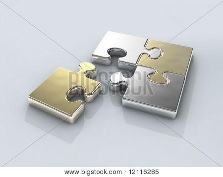 conexión de cromo cuatro rompecabezas
