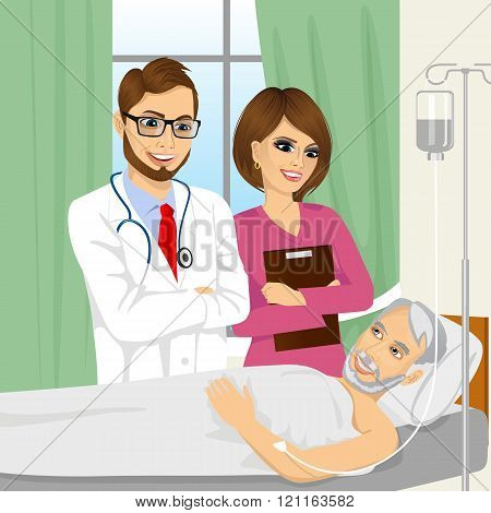 young doctor and nurse visiting a senior old man patient