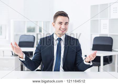 Talkative Young Businessman