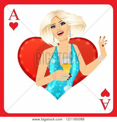 blonde woman representing ace of hearts card from poker game