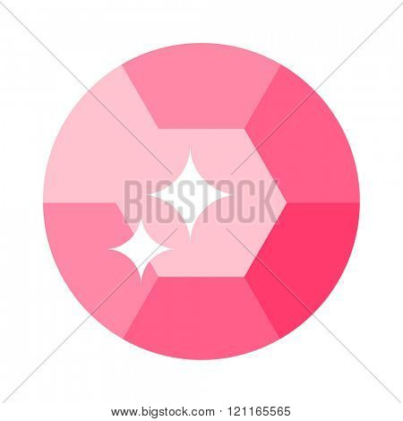 Flat design of gemstone illustration . Colored gemstone isolated on white background. Pink tourmaline gemstone isolated on white background. Pink gemstone jewelry shiny gem.