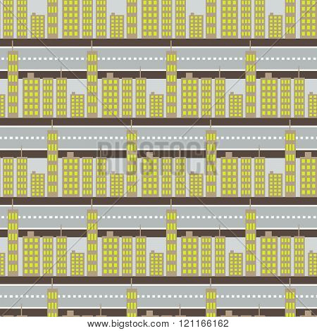 City Skyscrapers And Road Street Seamless Pattern.