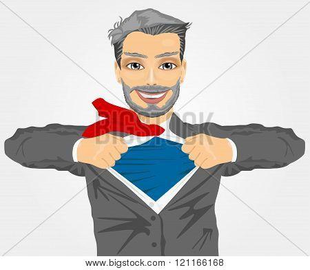 Mature businessman with superhero suit under his skirt