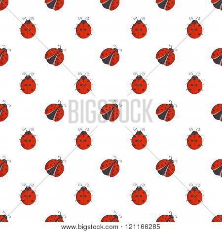 Seamless pattern with cute ladybugs isolated on white.