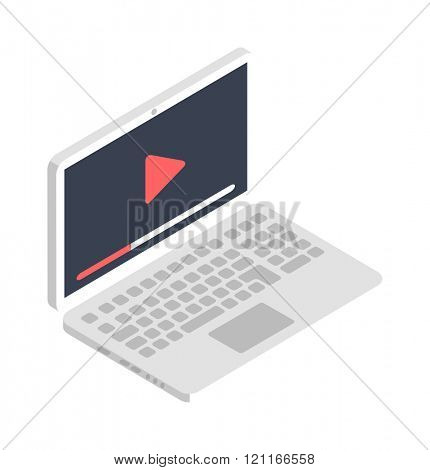 Isometric laptop icon illustration. Isometric laptop flat design. Isometric laptop business technology. Isometric laptop digital symbol. Isometric laptop infographic equipment.