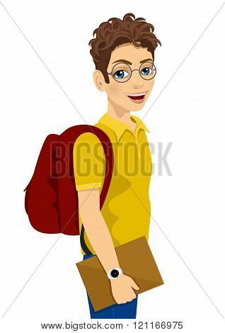 teenage student with glasses and backpack holding textbook