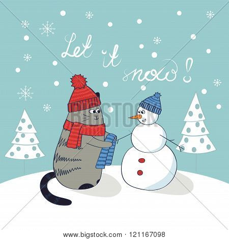 Cute cat and snowman. Christmas card template. Let it snow lettering. Doodle winter vector illustration.
