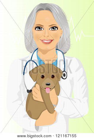 mature female veterinarian hugging cute little dog