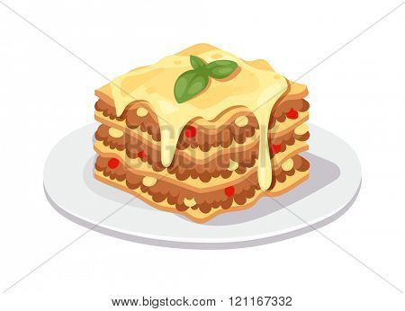 Delicious chocolate dessert cake vector illustration. Piece of chocolate dessert cake with icing and fresh berry on white isolated background. Dessert cake Piece of cake with cream, leaf of fresh mint