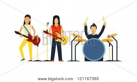 Music band with instruments vector illustration. Band of musicians with instruments. Music band with guitar, drum set vector. Music band sound group. Music band modern people.
