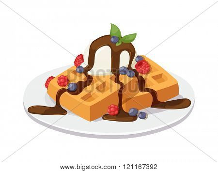 Belgium waffles with chocolate sauce, ice cream and strawberries isolated on white background vector. Homemade waffles with fruit and whipped cream. Belgian waffles with chocolate sauce.